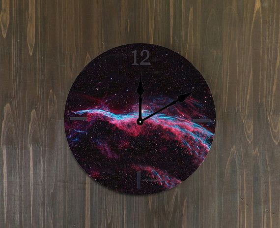 purple wood glaxy clock-babies bedroom wall clock-nursery room decor-dorm decor-nebular wall hanging-galaxy room decor-galaxy wall art