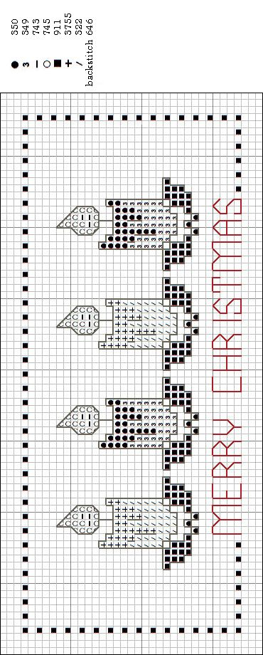 merry christmas bookmark #cross-stitch #chart