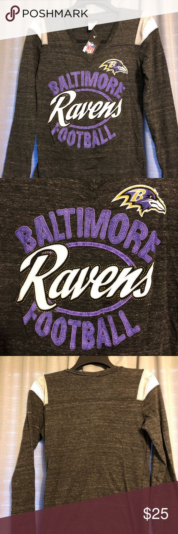 NWT Baltimore Ravens long sleeve shirt Brand new Baltimore Ravens football long sleeve T-shirt. Originally purchased at Macy's department store from the NFL team shop. Tags still attached. Perfect for cheering on the ravens in chilly fall weather! Macy's Tops Tees - Long Sleeve
