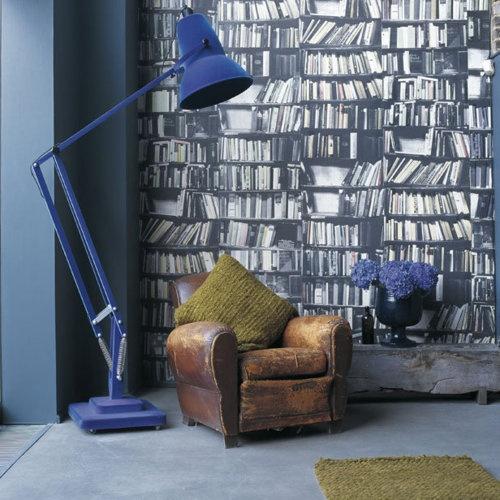 blue pixar lamp + vintage leather couch