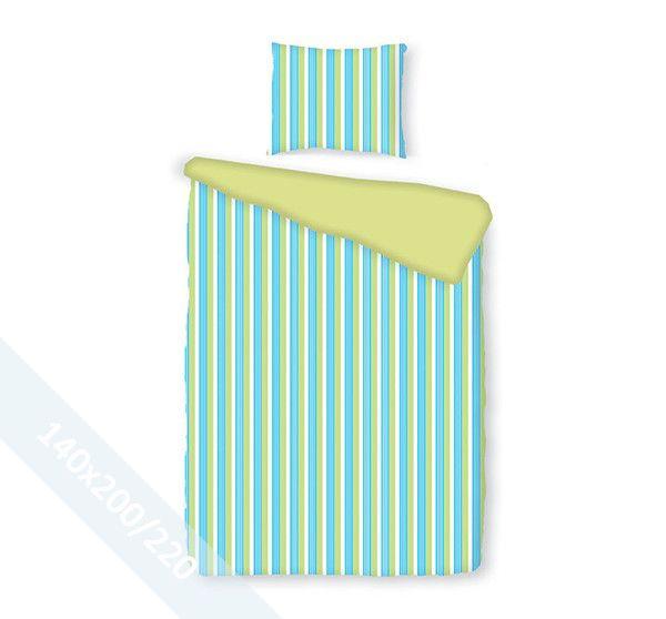 Romanette dekbedovertrek 'Pelle' Aqua. Een éénpersoons (140x200/220 cm) dekbedovertrek van 100% katoen met een verticaal gestreept patroon in wit, aqua en lime.