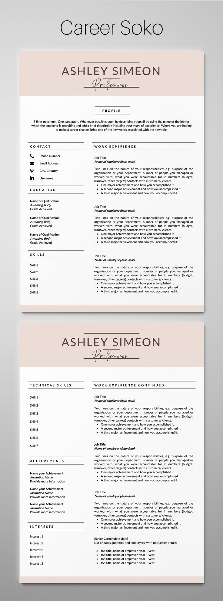 Resume Template Word CV Template CV Design 2 Page Resume