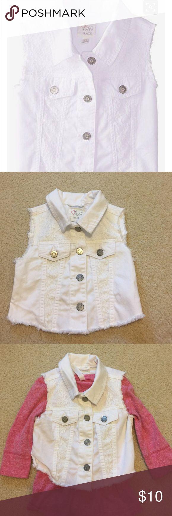 Children's Place white denim vest w/ lace detail. Super cute. EUC. Nonstains or flaws. Size small5/6 Children's Place Jackets & Coats Vests