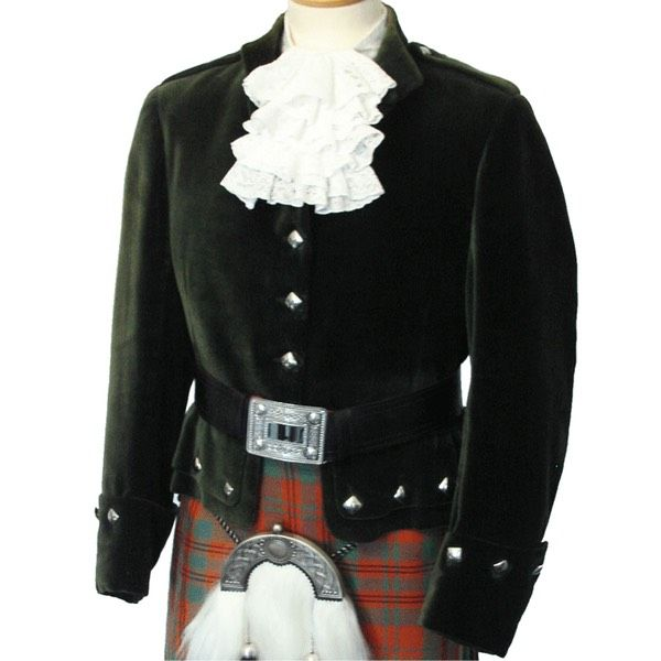 Kenmore jacket. Fine Scottish kilt jackets made to order in Scotland by Mail order. Including Prince Charlie jackets and vest, Regulation doublets, Sherriffmuir jackets and Argyle jackets and waistcoats. In wonderful cloths from fine velvets to Scottish keepers tweeds. 100% made in Scotland. The very best Scottish kilt and Highland wear online.