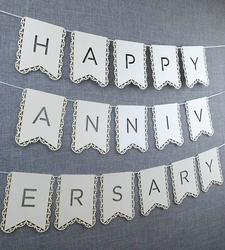 "White Happy Aniversary Banner  | This laser-cut paper banner says ""Happy…"