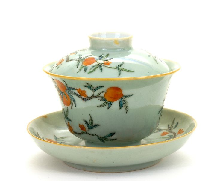 4 Late 19C Chinese Celadon Famille Rose Peach Tea Cup