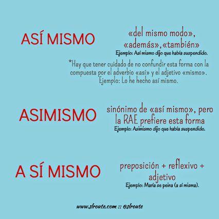 Similar words, phrases: así mismo, asimismo, a sí mismo