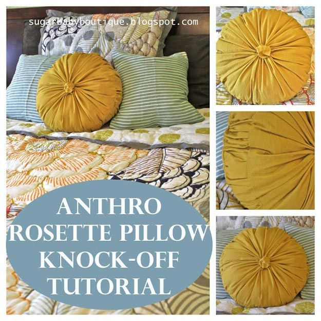 17 Fun and Simple DIY Pillow Ideas: 3 homemade rosette pillow