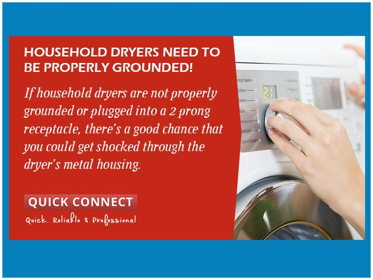 Household dryers need to be properly grounded! - If household dryers are not properly grounded or plugged into a 2 prong receptacle, there's a good chance that you could get shocked through the dryer's metal housing.