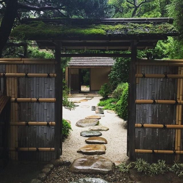 Japanese Exterior: Zen balance with dark and light, harmonious mix with nature