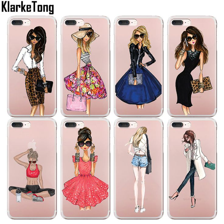 KlarkeTong Brand Fashion Dress Sport Girl Transparent Silicone Phone Cases For iPhone 5 5S SE 6 6S Plus 7 Plus Case Cover Coque