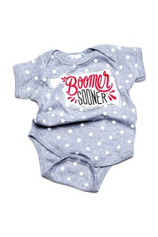 Lil Lu apparel Boomer Sooner State Polka Dot Onesie so cute for OU game day!
