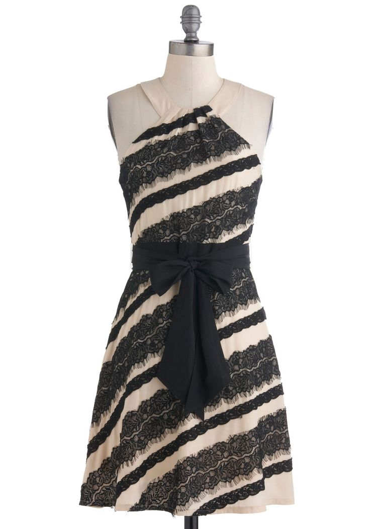 To Diagonal For Dress - Tan / Cream, Black, Lace, Wedding, Party, Empire, Halter, SpringNew Years Dresses, Diagon Stripes, Style, Bridesmaid Dresses, Modcloth Partydress, Diagon Dresses, Black Laces, Diagon Lace, Black And Cream Lace Dresses