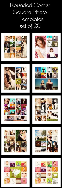 Album Templates: Rounded corner square photo templates