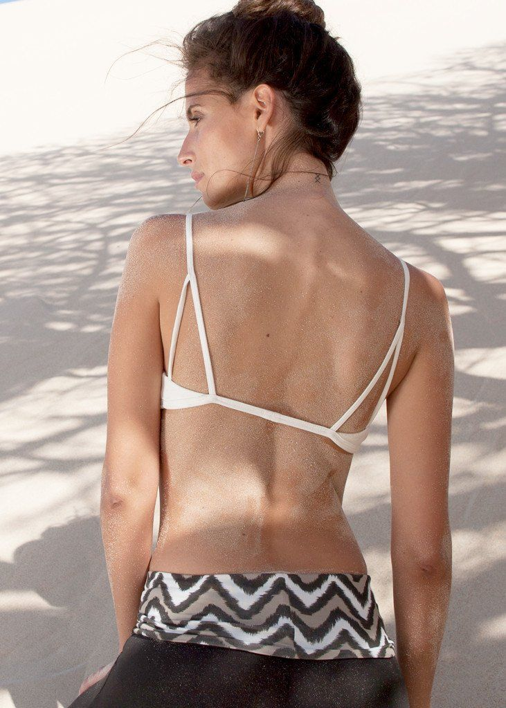 Horizon Bralette - love the back on this yoga bralet. WE'AR Horizon Bralette in Parchment with Stone Ikat Socksies we-ar.com