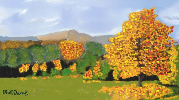 Autumn Landscape Print by PhilomenaDunneArt on Etsy