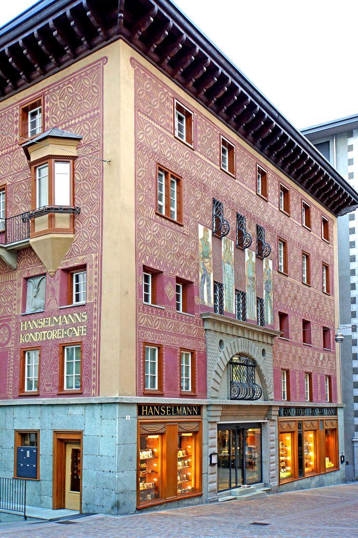 """""""Hanslmanns Konditorei Cafe"""" is St Moritz's celebrated bakery n tea room in Sankt Moritz-Dorf, Canton of Graubunden_ Switzerland"""