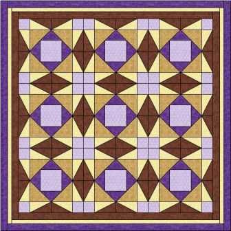 The Pegs star quilt block makes a stunning quilt pattern giving the illusion of circles floating in the background and stars formed where the blocks join.