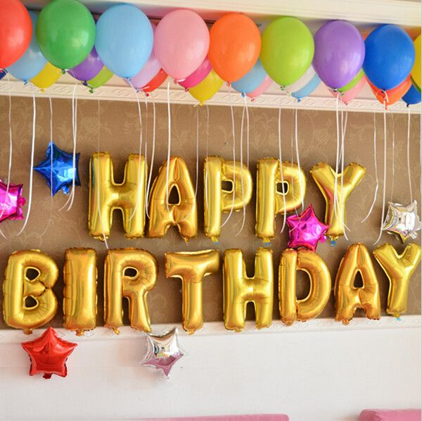 """Decorate your special day with our NEW Gold Foil Helium Balloons! Details below! - 13 pieces """"HAPPY BIRTHDAY"""" - 16"""" Gold Foil Helium Balloon *Only Gold Balloons included. Other colors/styles in photo"""
