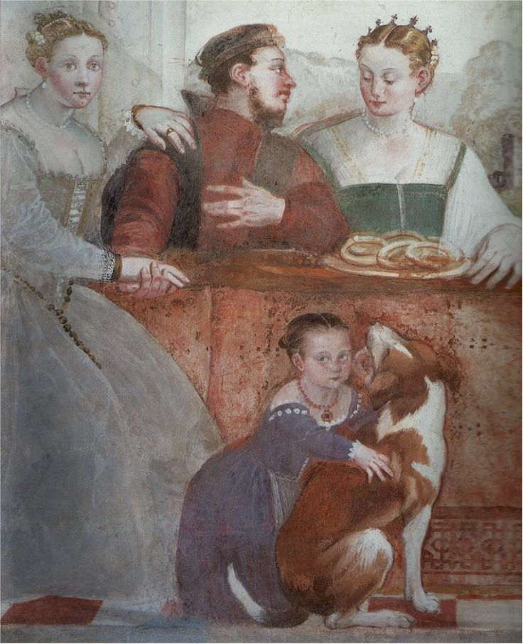 """Venetian Province of Vicenza, Republic of Venice     Giovanni Antonio Fasolo, c1565: """"The Banquet"""" (Fresco detail)    Vicenza, Villa Caldogno    The embroidery under the front opening of the left lady, and the little girl."""