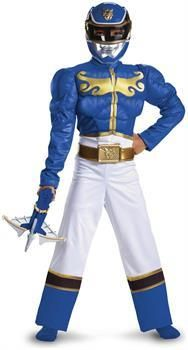 Men's Power Rangers Blue Ranger Megaforce Muscle Chest Costume Child