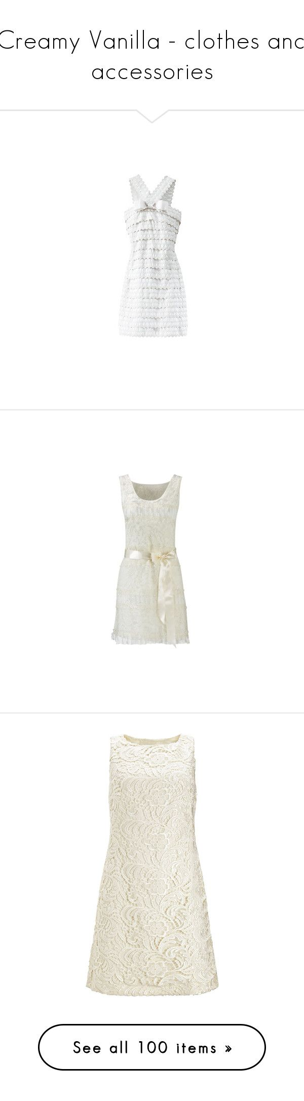 """Creamy Vanilla - clothes and accessories"" by mama-candy ❤ liked on Polyvore featuring dresses, vestidos, gossip girl, vestiti, white day dress, white dresses, abiti, haljine, lace dress and lacy dress"