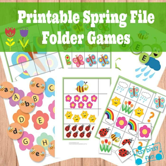 """Spring File Folder Games (Free) Your kids will be learning letters (both upper and lower case), they will work on their counting, color recognition, figuring out the patterns in """"what comes next"""" games and recognize shapes as they put together puzzles. They'll also be able to put together simple 3 and 4 lettered words - all that with a dash of spring."""