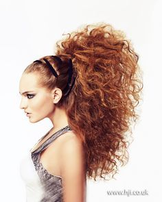 Hair style, wild teased curls, crazy hairstyle, hairpiece or hair extensions needed I think, perfect for a different look.