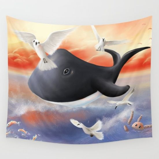 The peaceforce wall tapestry. A lovely illustration made by Richard Eijkenbroek. Tags: whale illustration animals cute children