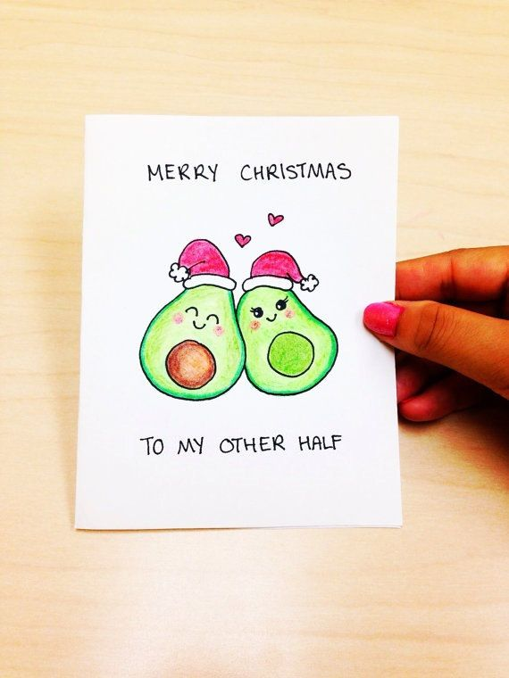 Funny Christmas Card Boyfriend, Merry Christmas to my other half, cute Christmas card girlfriend, christmas pun, xmas card, avocado cartoon by LoveNCreativity