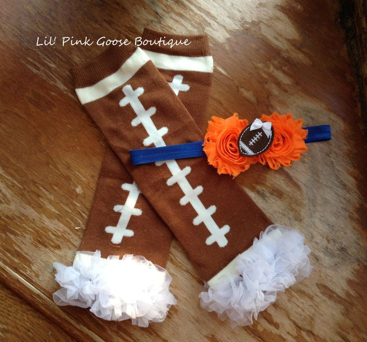 DENVER FOOTBALL Set, Legwarmers with Headband, Football Cheerleader Costume, Halloween Costume, Football Baby Girl, Football Outfit by LilPinkGoose on Etsy