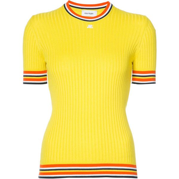 Courr?ges Yellow Short Sleeve Sweater With Stripes ($395) ❤ liked on Polyvore featuring tops, sweaters, yellow, striped sweater, yellow top, yellow striped top, short sleeve tops and striped top