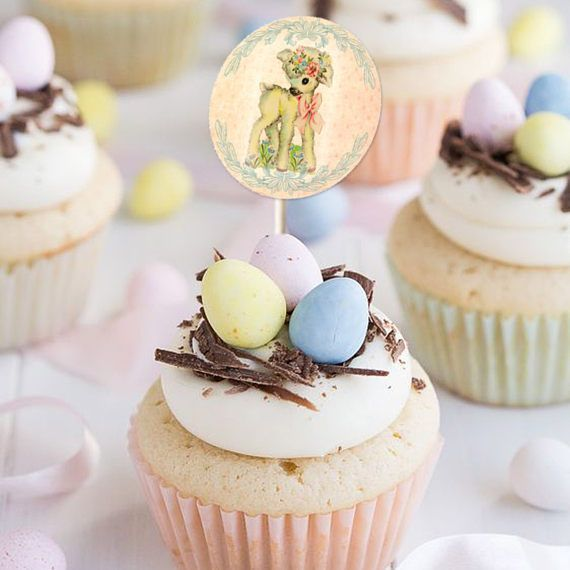EASTER RETRO STICKERS Party Gift Tags Cupcake Cake Topper Labels Sticker Bunny Chick Duck Lamb Pony Puppy Kitten Digital Collage Sheet 532c