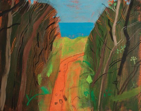 Elaine Pamphilon,  wonderful clipped hedge, towards clodgy  mixed media on canvas 40 x 50 cm