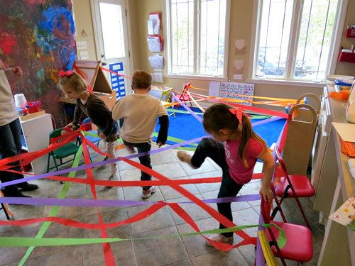 Preschoolers and younger elementary students can have fun and practice coordination with a rainbow obstacle course!