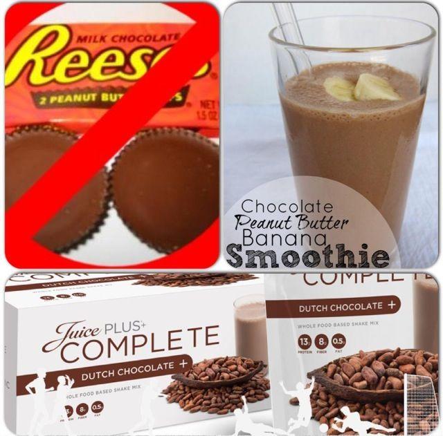 Chocolate-Peanut Butter-Banana Smoothie with Juice Plus+ Complete   mjeffrey.juiceplus.com