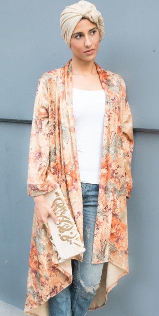 High Low Hem Kimono Velvet Floral print - Mode-sty