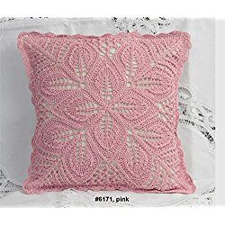 "Cotton Crochet Pillow Cushion COVER 16x16"" Pink by Creative Linens"