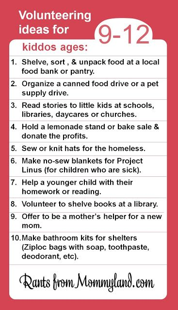 Volunteering ideas for kids ages 9 - 12 but the link has volunteer ideas for kids as young as 2
