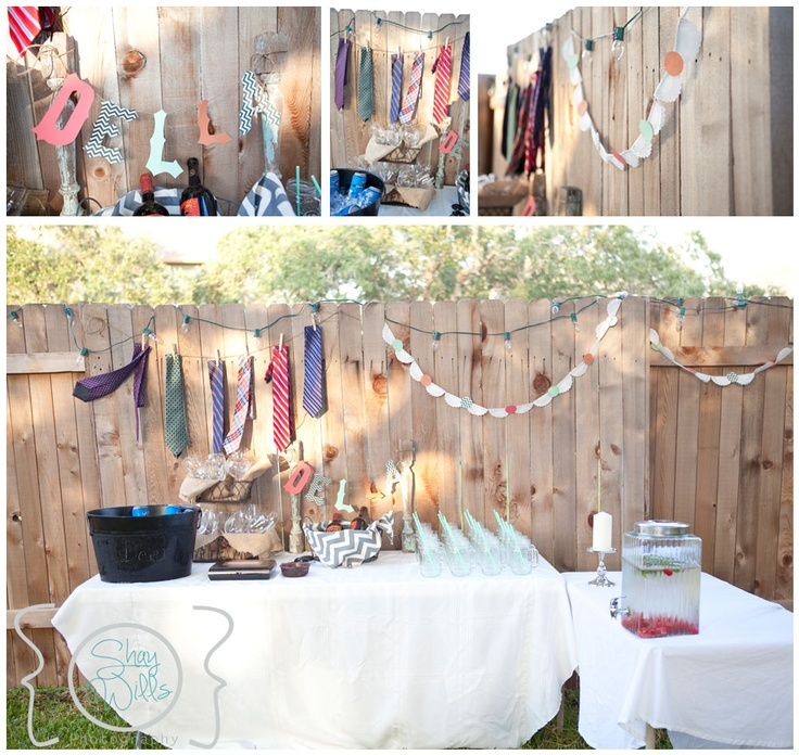 Couples shower decorate with ties