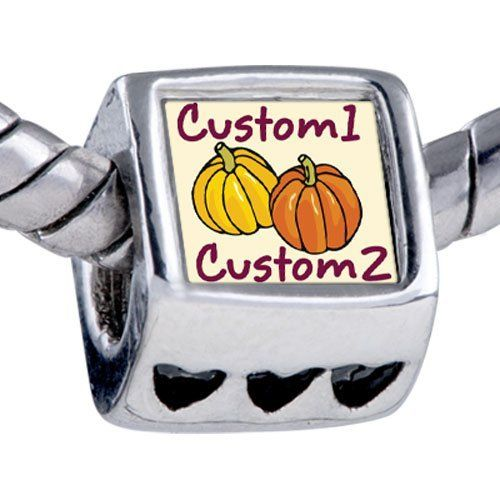 Pugster Custom 1 2 Yellow Orange Pumpkin Photo Heart Silver Plated Beads Gift Hallowmas Fits Pandora Charm Bracelet Pugster. $12.49. Bracelet sold separately. Unthreaded European story bracelet design. Fit Pandora, Biagi, and Chamilia Charm Bead Bracelets. Add the words you want on the Fit pandora charms. Hole size is approximately 4.8 to 5mm