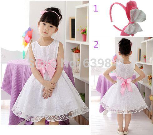 Детские платья для свадьбы 2015 новых детей вечернее платье летних девочек одежда белый бальное платье платье 2 - 12 1399 #