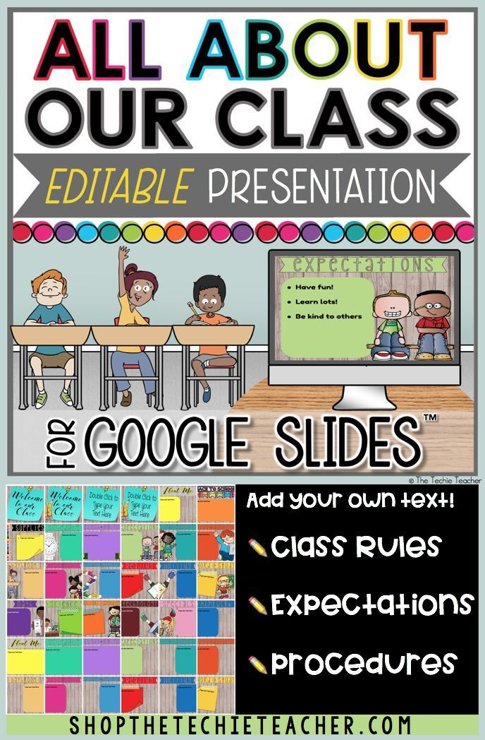 This editable teacher presentation in Google Slides™️ willsave you a ton of timeas you prepare for your first day(s) of school. Use this presentation as you explain your classroom rules (you can always add these together as a class), expectations, procedures and so much more! Embed this into your class blog/website or send the link home to parents.