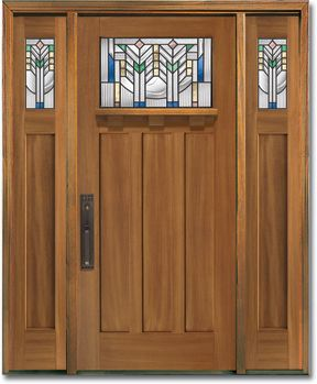 Elegant Craftsman Style Fiberglass Entry Door