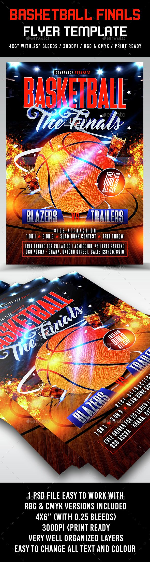 Basketball Finals Flyer Template by Crabsta52 Basketball Finals Flyer Template is very modern psd flyer that will give the perfect promotion for your upcoming event or club par
