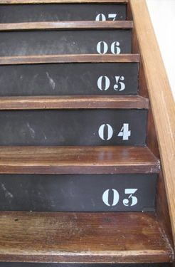 Not for the numbers, but I do like the chalkboard idea with wood stairs...