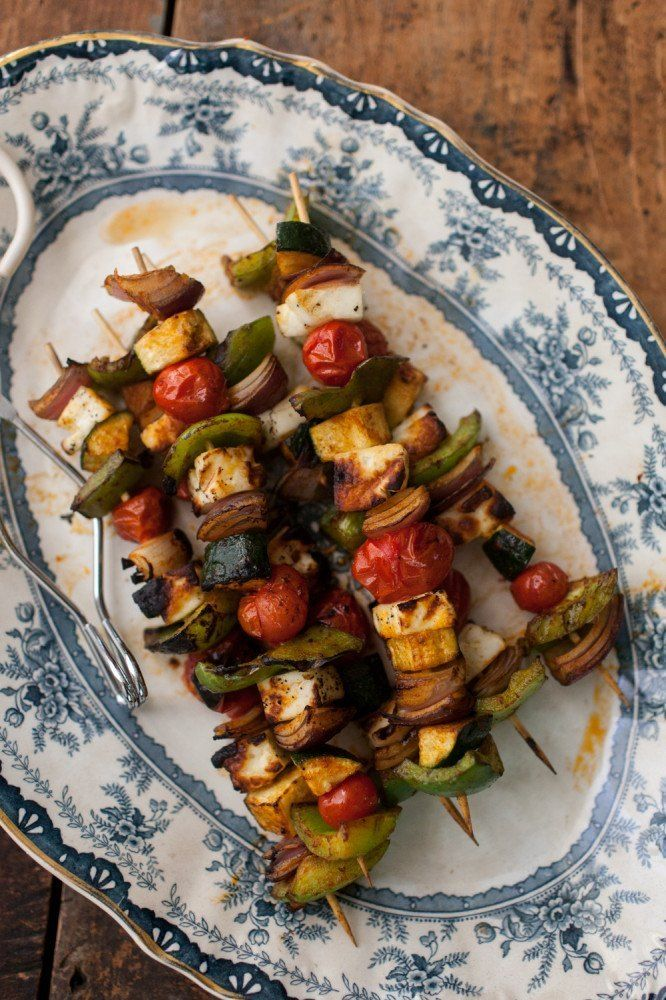 Grilled Halloumi Skewers with Cilantro-Tahini Sauce (could use a meat with this)