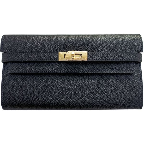 Pre-Owned Hermes Black Epsom Permabrass Kelly Long Wallet (253,280 PHP) ❤ liked on Polyvore featuring bags, wallets, black, black leather bag, hermes wallet, long wallet, real leather wallet y black evening bag