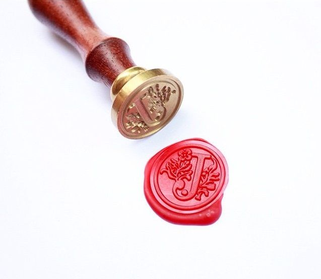 "Wax Seal Stamp ""J"" & Wax Seal Candle ""Flashy Red"""