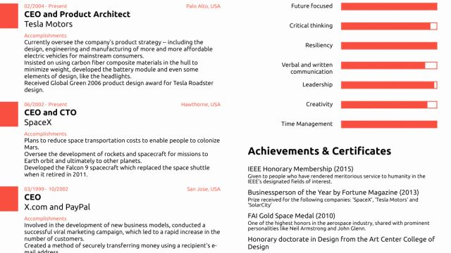 20 Elon Musk One Page Resume In 2020 With Images One Page Resume Good Resume Examples Job Resume Samples